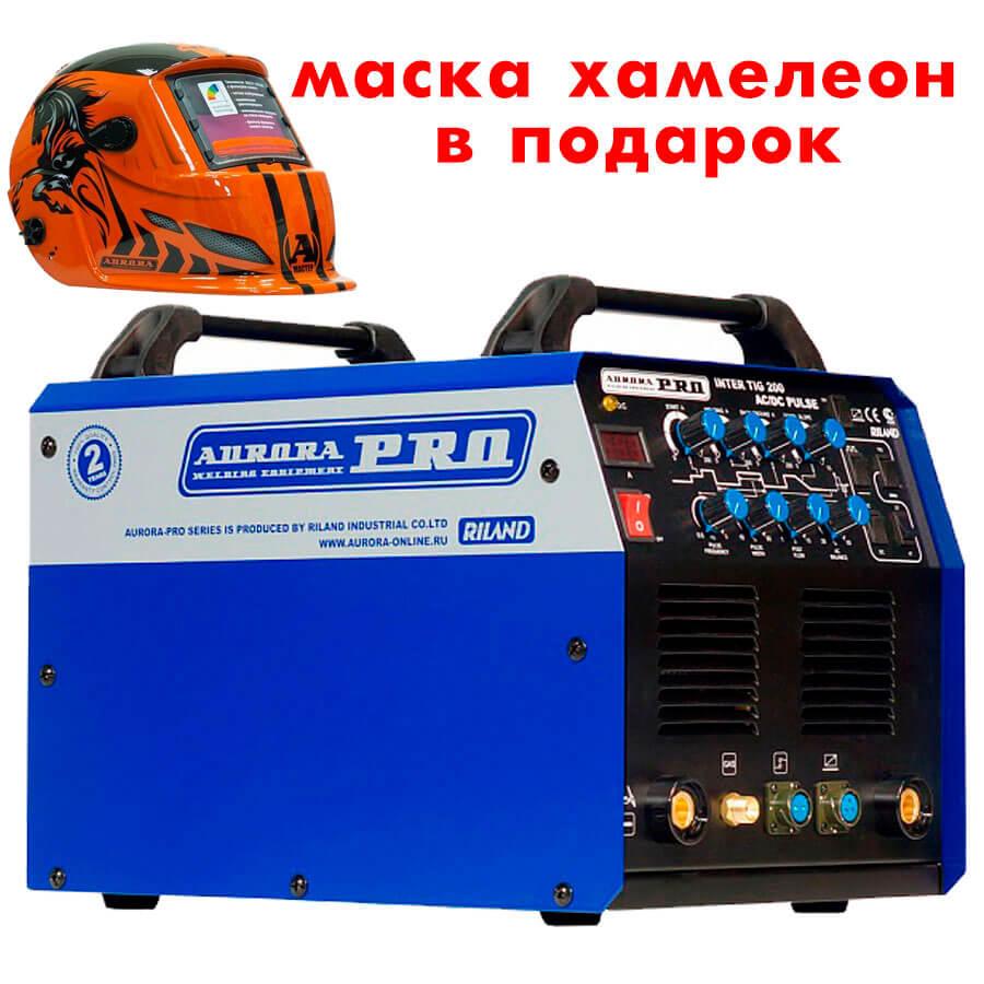 Сварочный инвертор AuroraPRO Inter tig 200 ACDC Pulse + Маска Aurora A777 Автомастер
