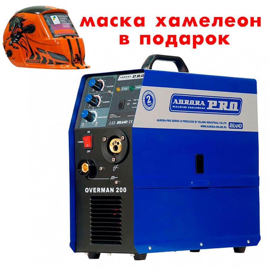 Сварочный инвертор AuroraPRO Overman 200 + Маска Aurora A777 Автомастер