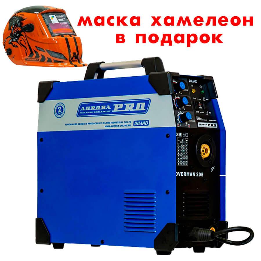 Сварочный инвертор AuroraPRO Overman 205 + Маска Aurora A777 Автомастер