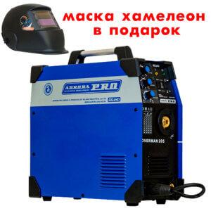 Сварочный инвертор AuroraPRO Overman 205 + Маска A998F BLACK COSMO